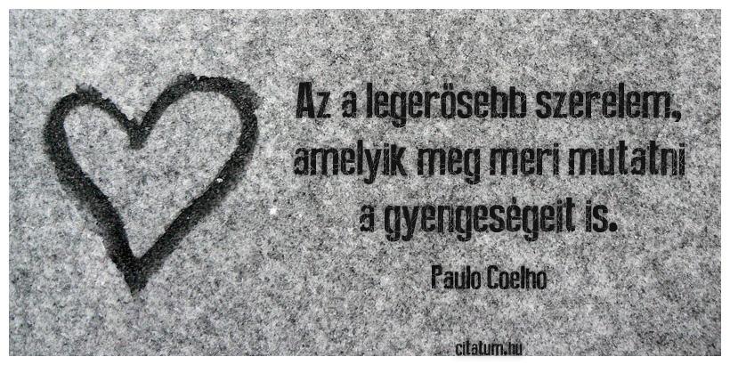 paulo coelho szerelmes idézetek Az a legerősebb szerelem, amelyik