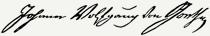 Johann Wolfgang von Goethe aláírása